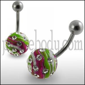 Tripple Color Hand PaintedCrystal Ball Banana Bar Belly Ring