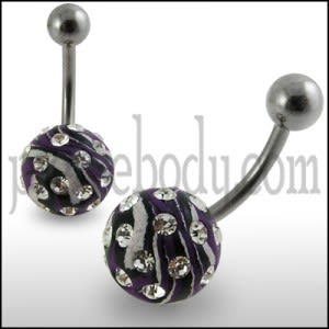Black And White Hand Painted Crystal Ball SS Curved Navel Ring