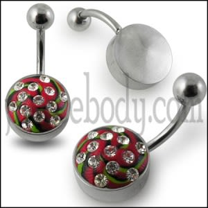 Steel Base Multi Color painted Crystal Banana Bar Navel  Ring