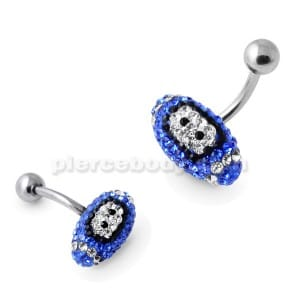Dark Blue Crystal Rugby Ball Belly Bar