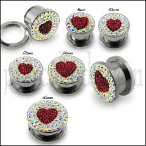 SS Screw Fit Crystal Red Heart Ear Tunnel