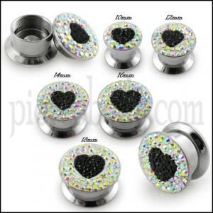 SS Screw Fit Clear Crystal Heart Ear Flesh Tunnel Stretcher