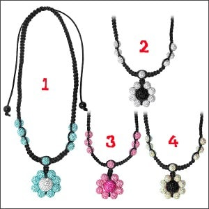 Multi Crystal Stone Ball Necklace