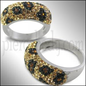 ARINNA Clear Multi Color Crystal Fashion Finger band Ring
