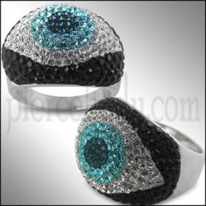 Brass Crystal Guardian Evil Eye Ring