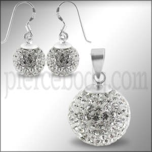 White Crystal stone Studded Silver Jewelry Set