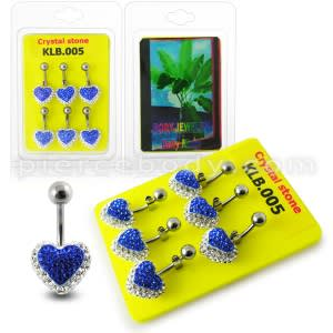 Royal Blue Crystal stone Heart With 316L SS Banana Bar Belly Ring