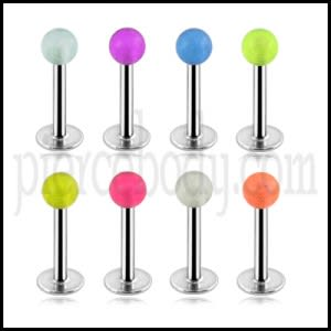 316L Surgical steel Labrets with Glow Balls