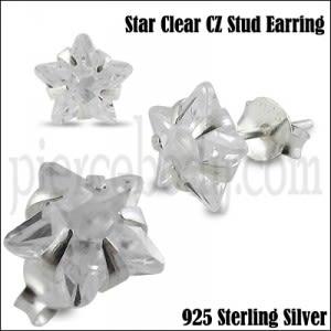 925 Sterling Silver Star CZ Earring