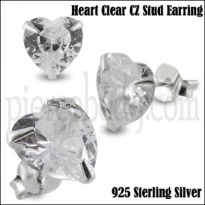 925 Sterling Silver Heart CZ Earring