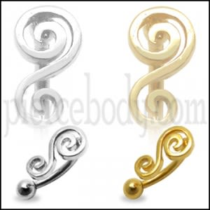 Filigree Musical Note Eyebrow Ring