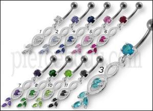 Multi Stone Jeweled Fancy Dangling SS Banana Bar Belly Ring