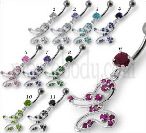 Flying Jeweled Buttefly Dangling Belly Ring