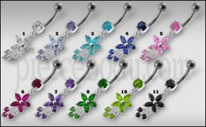 Fancy Flower With Blue Stone Dangling SS Curved Belly Ring