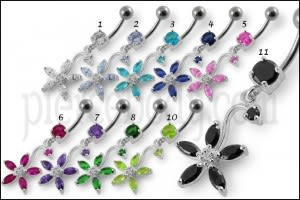 Fancy Multi Stones Flower Dangling Curved Navel Ring