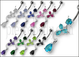 Fancy Flower Jeweled Dangling Banana Bar Belly Ring