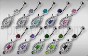 Fancy Vinatge Royal Design Jeweled Dangling Curved Belly Ring
