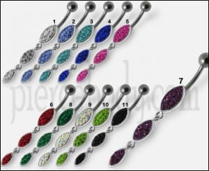 Silver Fancy Stones Jeweled Dangling 316L SS Bar Navel Ring
