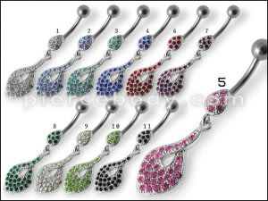 Royal Fancy Jeweled Dangling Curved Bar Belly Ring