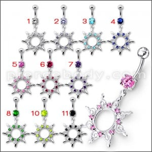 Fancy Silver Multi Jeweled STAR Dangling Banana Belly Ring
