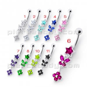 Fancy Red Multi Flower Jeweled Dangling Navel Ring