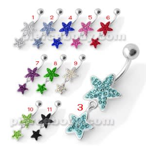 Fancy Multi Jeweled Two Star Dangling Belly Ring