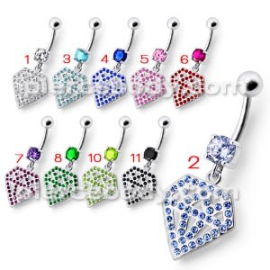 Silver Fancy Multi Jeweled Diamond Shape Dangling Curved Belly Ring
