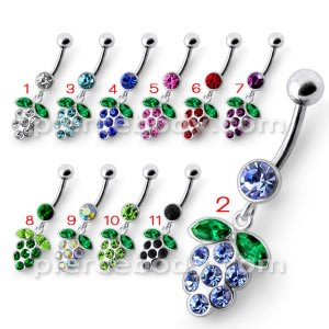 Silver Fancy Jeweled EVA Dangling Curved Belly Ring
