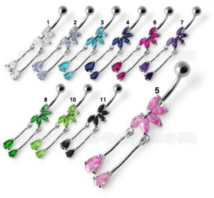 Fancy Jeweled Flower Tear Drop Dangling Belly Ring