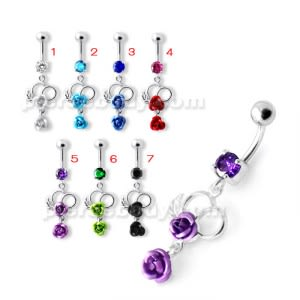 Fancy Silver Jeweled Dangling Navel Ring