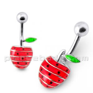 Rexine Strawberry Silver Belly Ring