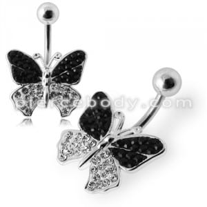Fancy Butterfly Jeweled Silver Belly Ring