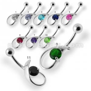 Fancy Single Stone Jeweled Silver Belly Ring Body Jewelry
