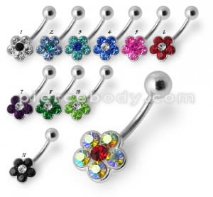 Fancy Jeweled Flower Silver SS Banana Bar Belly Ring Body Jewelry