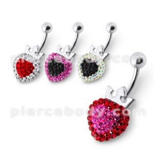 Fancy Silver Red And Pink Heart Shape Jeweled Silver Navel Belly Button Ring