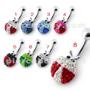 Fancy Mix Color Jeweled Silver With 316L SS Navel Ring Body Jewelry