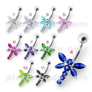 Fancy Jeweled Butterfly Silver Belly Ring
