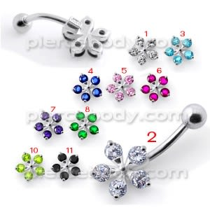 Jeweled Flower Silver Belly Ring With SS Curved Bar Body Jewelry