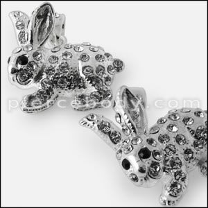 925 Sterling Silver Jeweled Rabbit Pendant