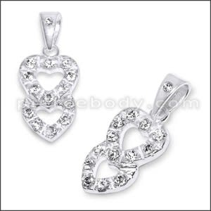 White Zirconia Double Heart 925 Sterling Silver Pendant