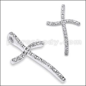 925 Sterling Silver White Zirconia Cross Pendant