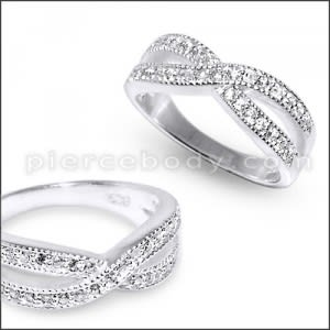 BF2U Multilayer Fashion Crystal Band Finger Ring Silver