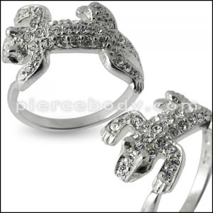 Jeweled Lizard Fashion Silver Ring