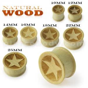 Laser Cut Star Wood Ear Plug