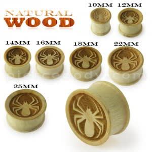 Laser Cut Spider Wood Ear Plug
