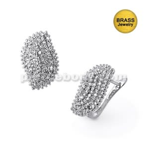 Micro Setting Jeweled Fancy Earring With Rhodium Platting