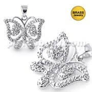 Micro Setting Jeweled Butterfly Pendant