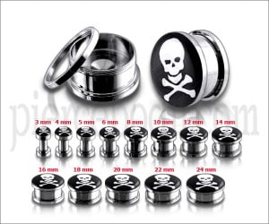 Bone And Skull Logo With SS Screw Fit  Ear Tunnel