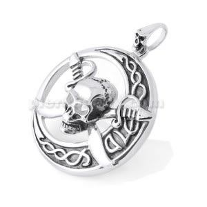 Stainless Steel Pirates Skull with Sword Pendant