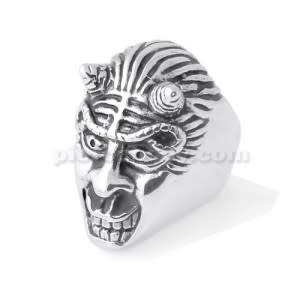 Stainless Steel Demon with Horn finger ring